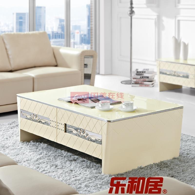 乐和居 简约新款茶几 米白色玻璃茶几 客厅储物拉丝花纹时尚茶几clj07