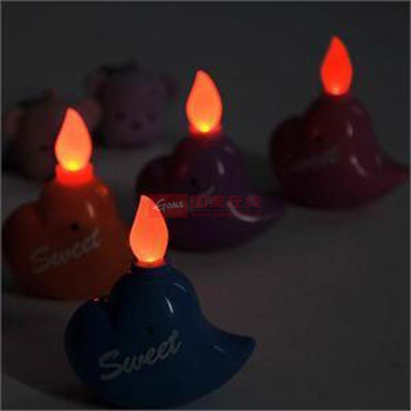 创意熊仔心形浪漫仿真电子蜡烛/无烟蜡烛