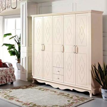 韩式田园风格白色五门大衣柜