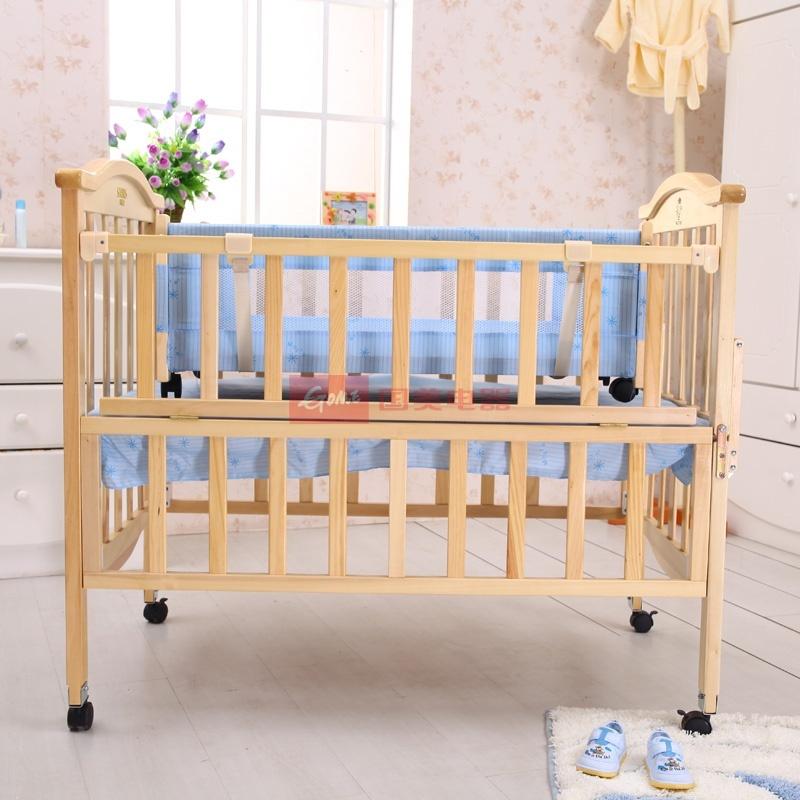 小硕士清漆系列实木婴儿床送摇床大小蚊帐sk-396