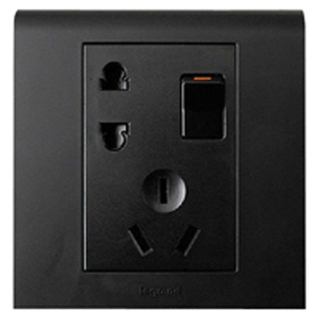 tcl罗格朗开关插座 k5彩色系列 一开五孔插座(黑色)