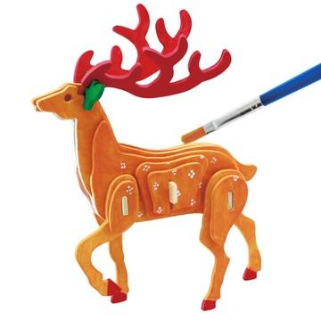 若态科技木质立体拼图儿童玩具可涂鸦上色动物飞机3d精品拼插(鹿)