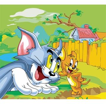 华庭丽娜手绘数字油画 无框画 猫和老鼠 卡通动物系列图片