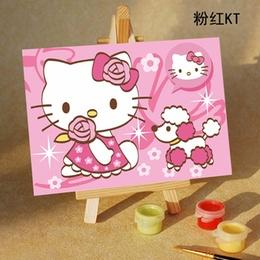 手绘无框画 diy迷你数字油画 粉红kt 10x15cm 孩子学习绘画