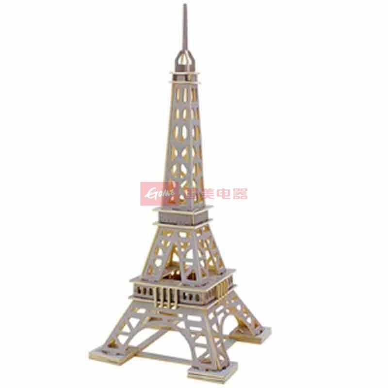 若态科技木质3d立体拼图模型著名建筑埃菲尔铁塔模型jpd463