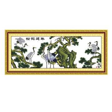 恋美成品十字绣 松鹤延年2 装饰画 电脑机绣成品 绣好的十字绣 不带框