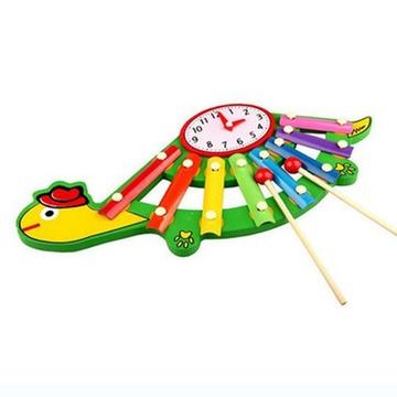熙悦 乌龟时钟手敲琴 卡通八音琴 木制敲琴 儿童音乐玩具 xy759