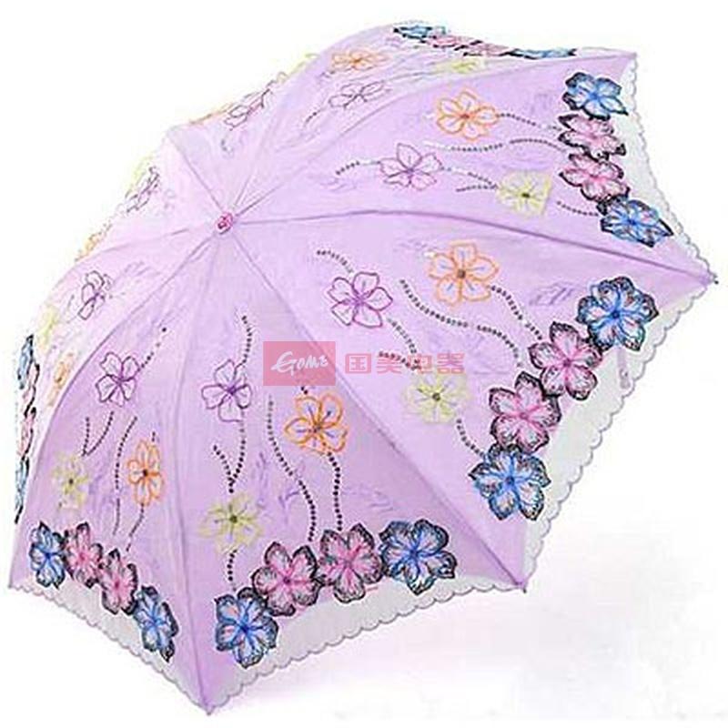 民族之花 天堂伞 三折*防紫外线遮阳双层蕾丝花边伞(紫色)天堂雨伞