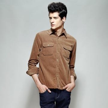 男灯芯绒夹绒衬衫