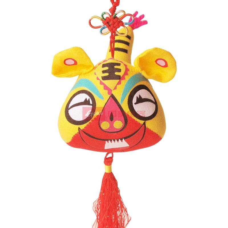 可爱布老虎挂件 布艺公仔布偶娃娃装饰 虎宝宝生日礼物结婚礼品(黄色)