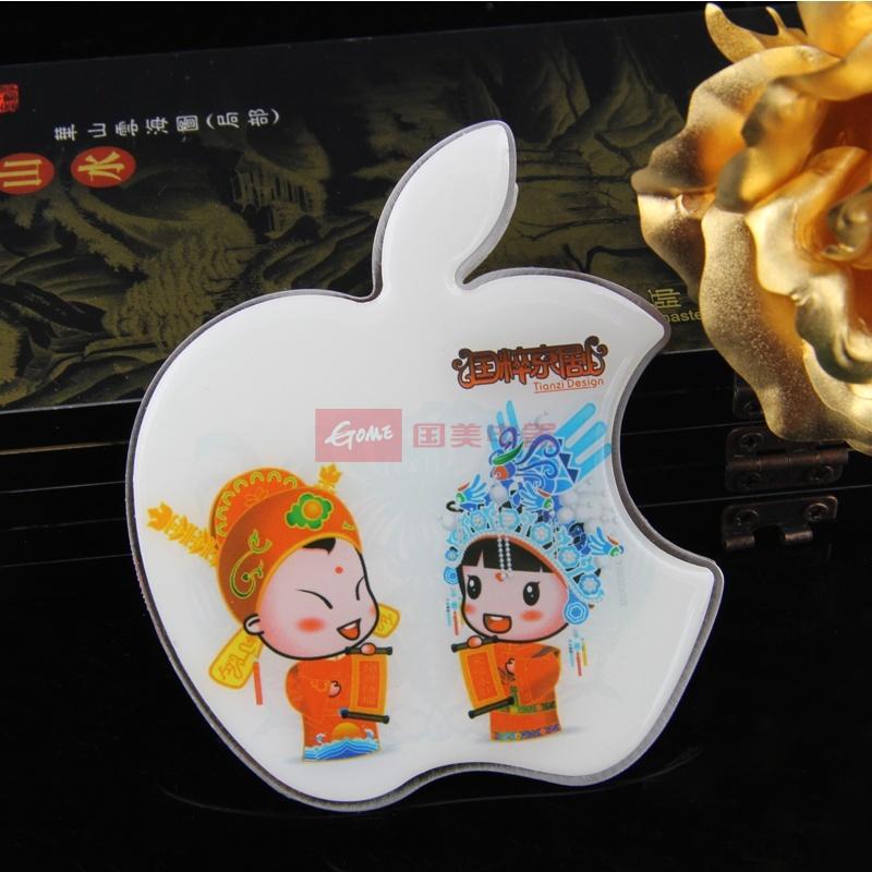 国美为您找到  中国风可爱便携化妆镜不锈钢小镜子女士苹果
