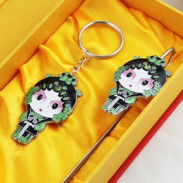 中国风京剧人物脸谱创意书签钥匙扣套装 商务外事出国
