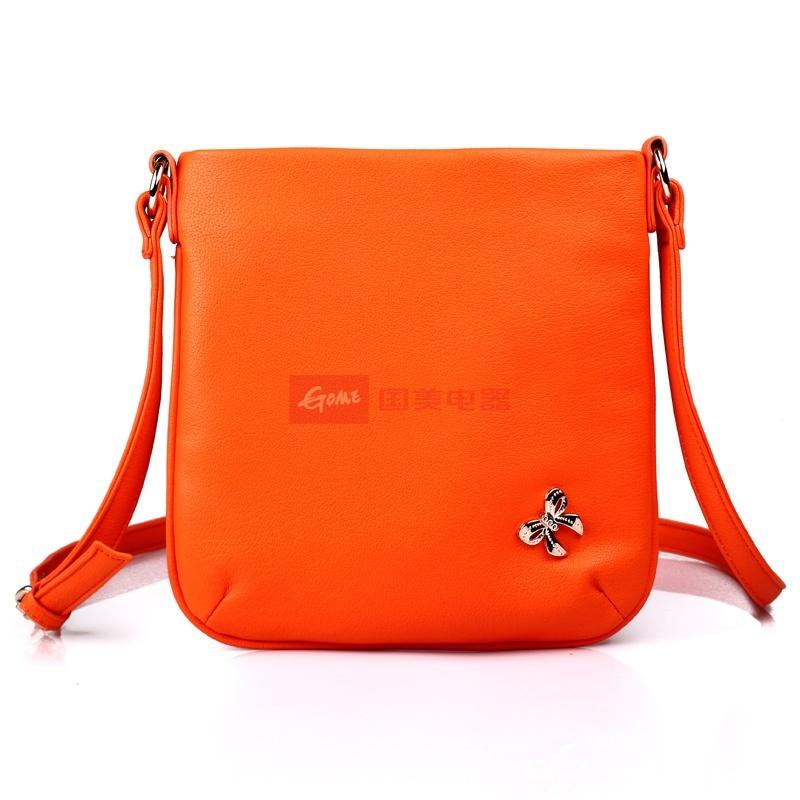 新款潮单肩斜挎包糖果色迷你小包包可爱女包斜跨包(橘黄色)单肩包图片
