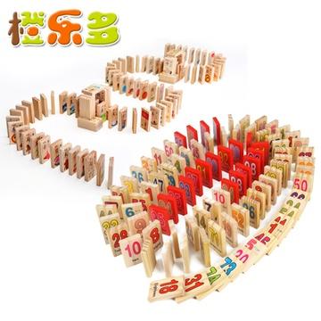 橙乐多 数字运算汉字认知积木拼图 木制多米诺骨牌 儿童益智玩具(数字