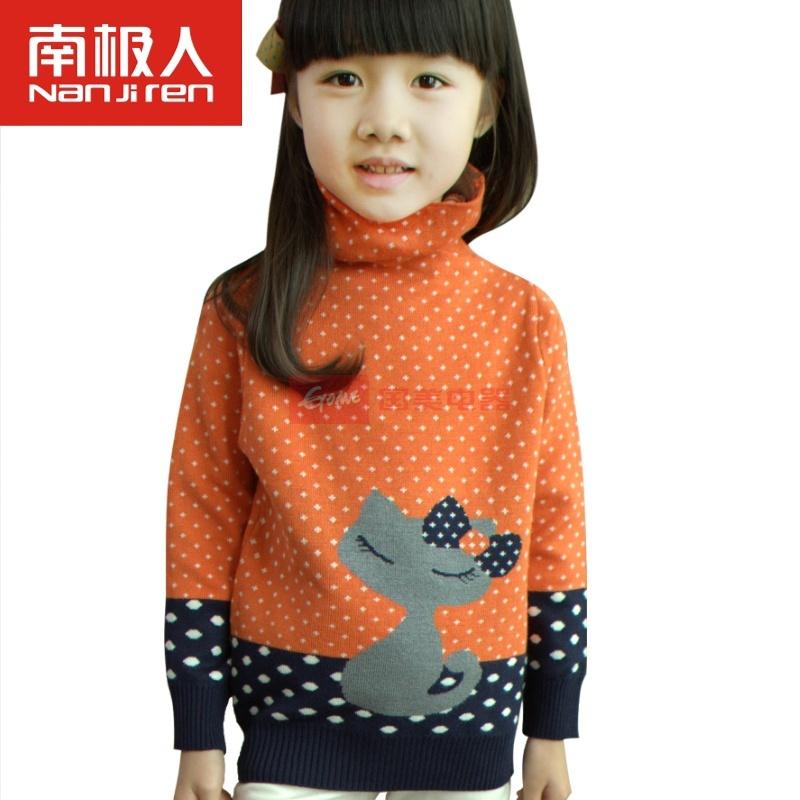 南极人儿童印花打底毛衣 女孩秋冬高领毛衫(小猫咪橙红 150)