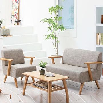时尚简约北欧宜家风格 单人实木扶手沙发椅 咖啡厅会所沙发椅 8339