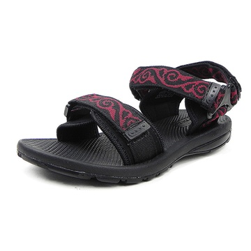 温突 经典花纹女式休闲沙滩凉鞋 7163(红色 35)