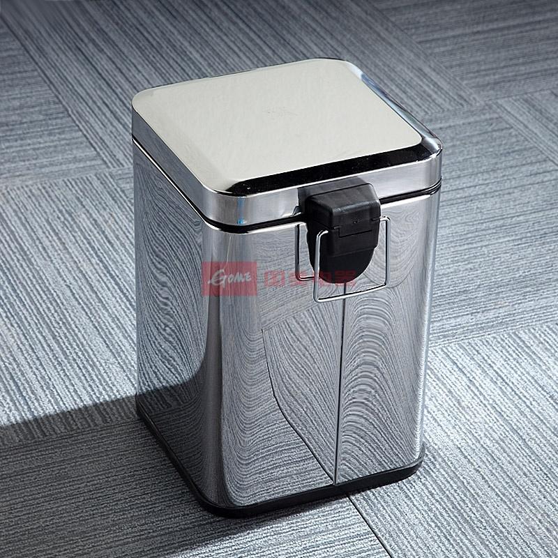 凯鹰6l家用方形不锈钢脚踏时尚创意垃圾桶(浴室厨房)