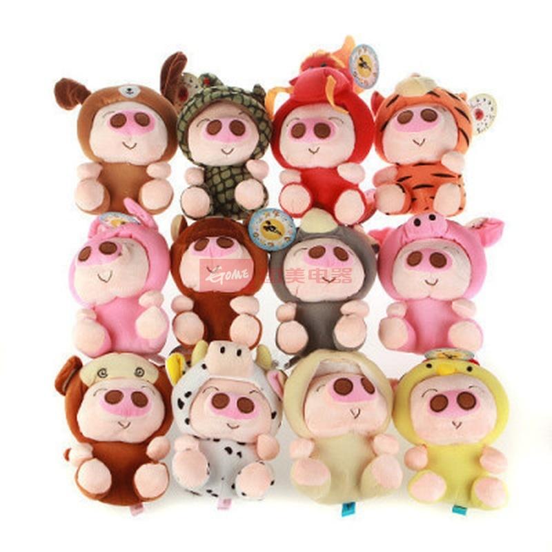 可爱12生肖麦兜猪公仔毛绒玩具猪猪玩偶吸盘挂件生日礼物(轻松熊12