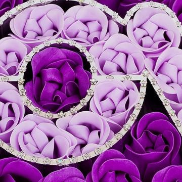 创意礼品 情人节礼物送女友生日100朵香皂玫瑰心形礼盒装肥皂花新品
