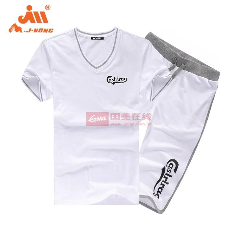 夏季运动套装男 短袖T恤非纯棉针织卫裤五分裤宽松大码2014透气款(白色 2XL)