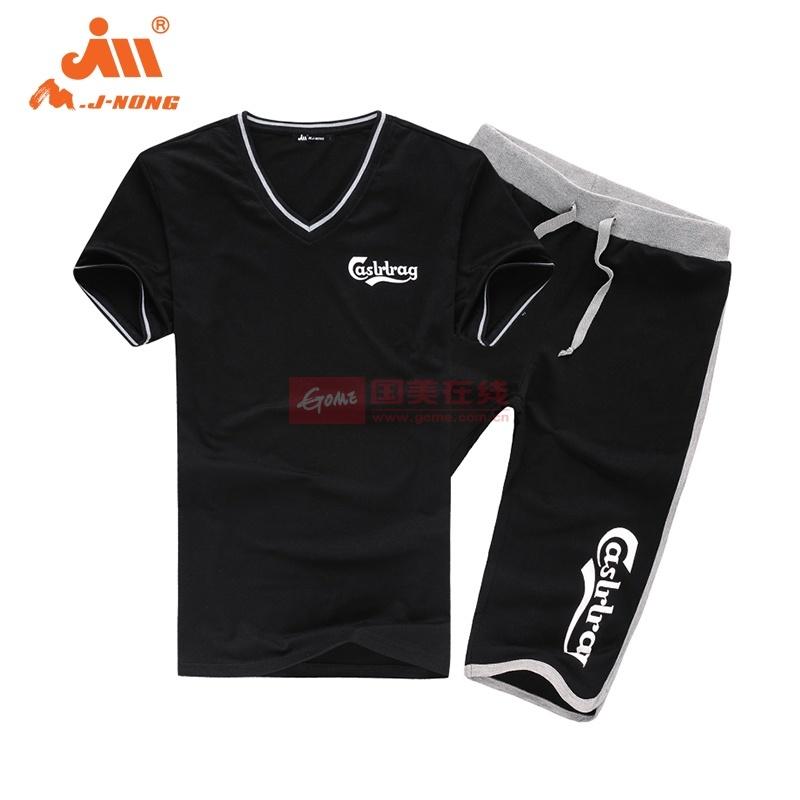 夏季运动套装男 短袖T恤非纯棉针织卫裤五分裤宽松大码2014透气款(黑色 XL)