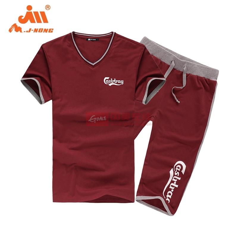 夏季运动套装男 短袖T恤非纯棉针织卫裤五分裤宽松大码2014透气款(红色 XL)