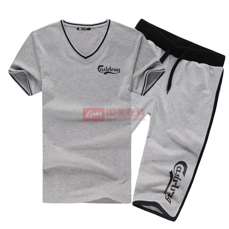 夏季运动套装男 短袖T恤非纯棉针织卫裤五分裤宽松大码2014透气款(灰色 3XL)