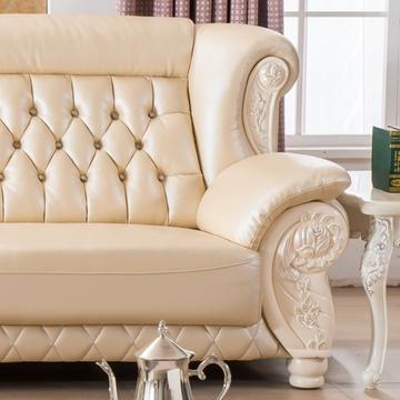 欧式真皮沙发 牛皮客厅法式欧式实木雕花沙发