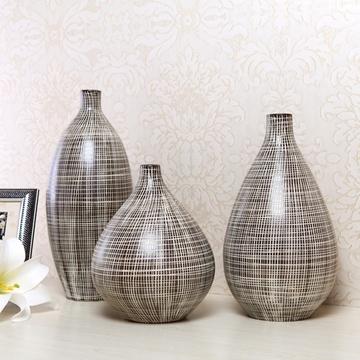 欧式陶瓷花瓶线条三件套花插摆件【图片