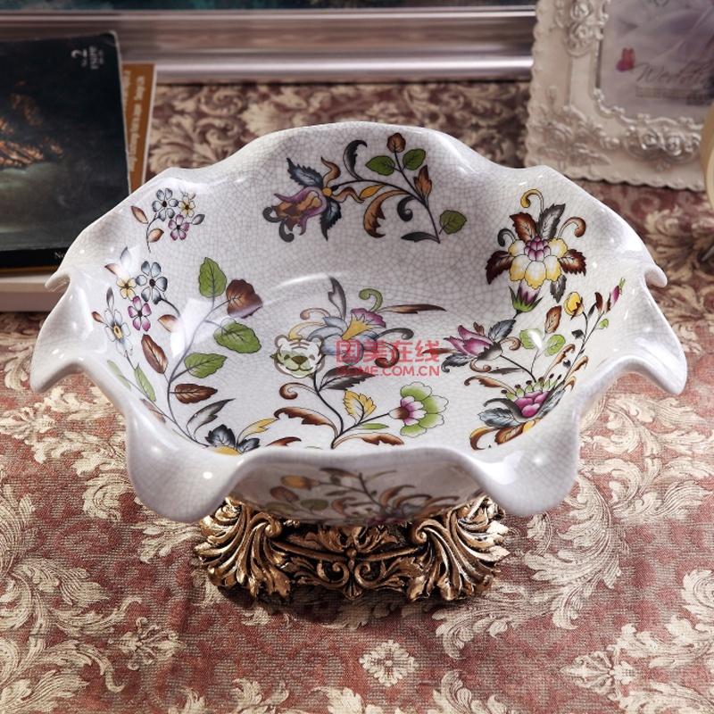 宫廷田园欧式复古新款创意水果盘乔迁礼品 花蕊花形陶瓷果盘