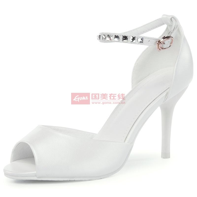 2014王菲儿凉鞋水果色水钻淑女女鞋公主鞋高跟鞋细跟鱼嘴(白色 34)
