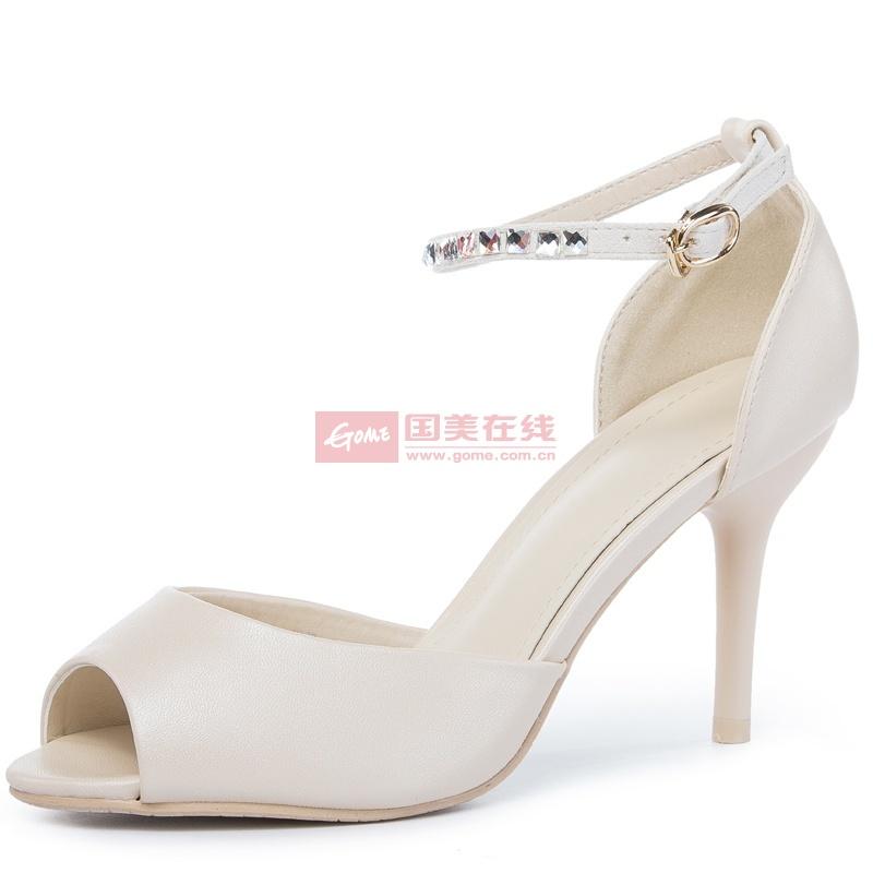 2014王菲儿凉鞋水果色水钻淑女女鞋公主鞋高跟鞋细跟鱼嘴(米色 36)