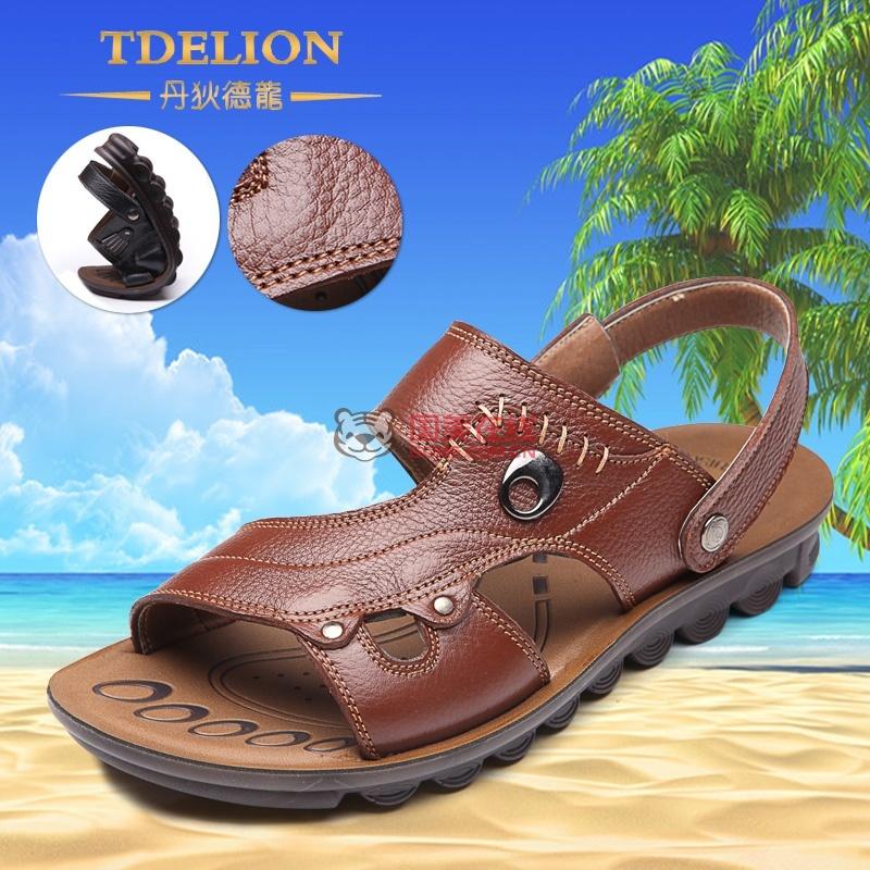 Enzun恩尊 A1317 高端品质男士潮流 真皮凉鞋 头层牛皮沙滩鞋(棕色 39)