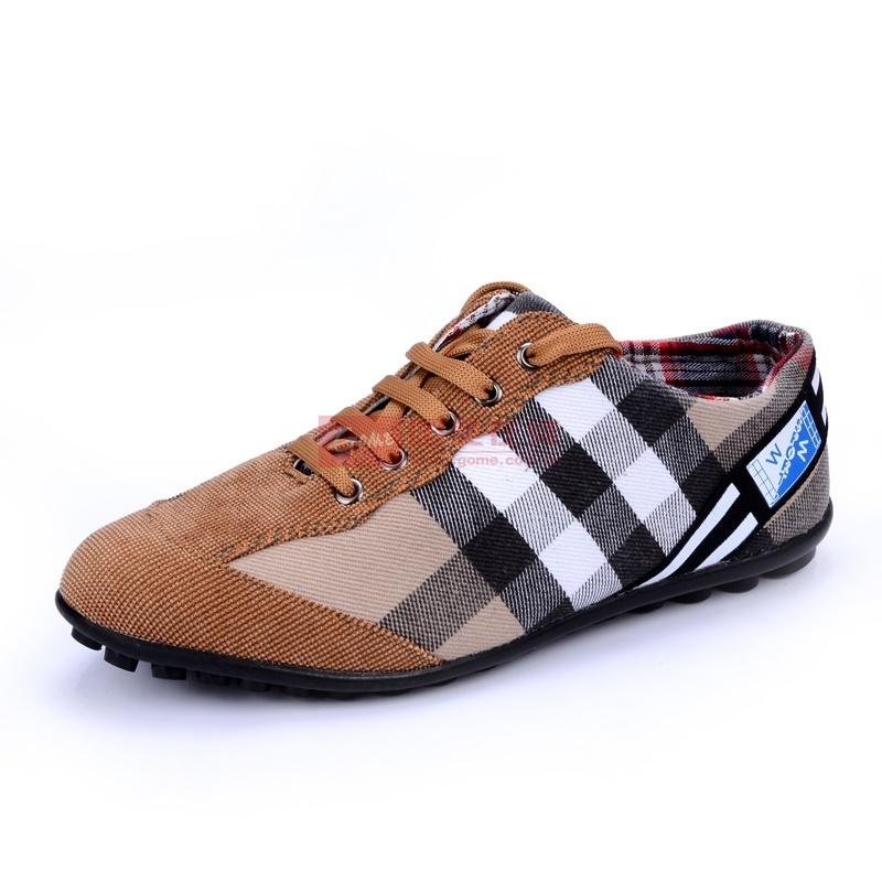 洛尚LS2011EF夏季新款布鞋透气男士帆布鞋 韩版低帮潮流休闲鞋男鞋格子布鞋男(浅棕 40运动鞋码)