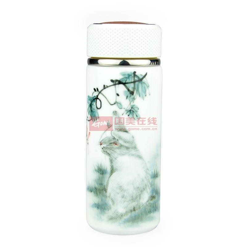 防烫手全陶瓷十二生肖保温杯直筒造型(兔-手绘定制十二生肖保温杯)