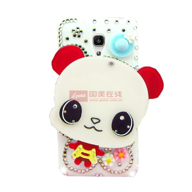 波尔卡 可爱卡通镜子水钻保护壳小米2a 手机套(红色大眼熊)