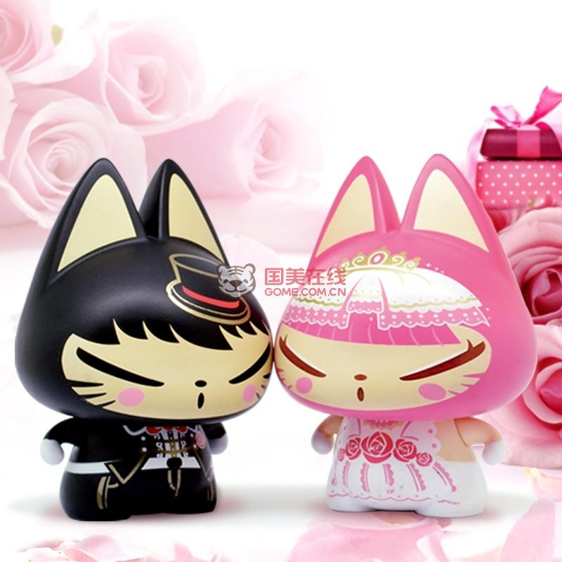 拽猫 婚纱情侣公仔 送女友浪漫礼品 创意结婚纪念日礼物 情人节礼物(婚纱情侣)