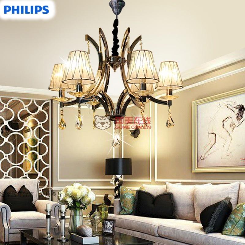 飞利浦水晶吊灯简约欧式现代田园客厅卧室餐厅典耀30690(含光源(含6个
