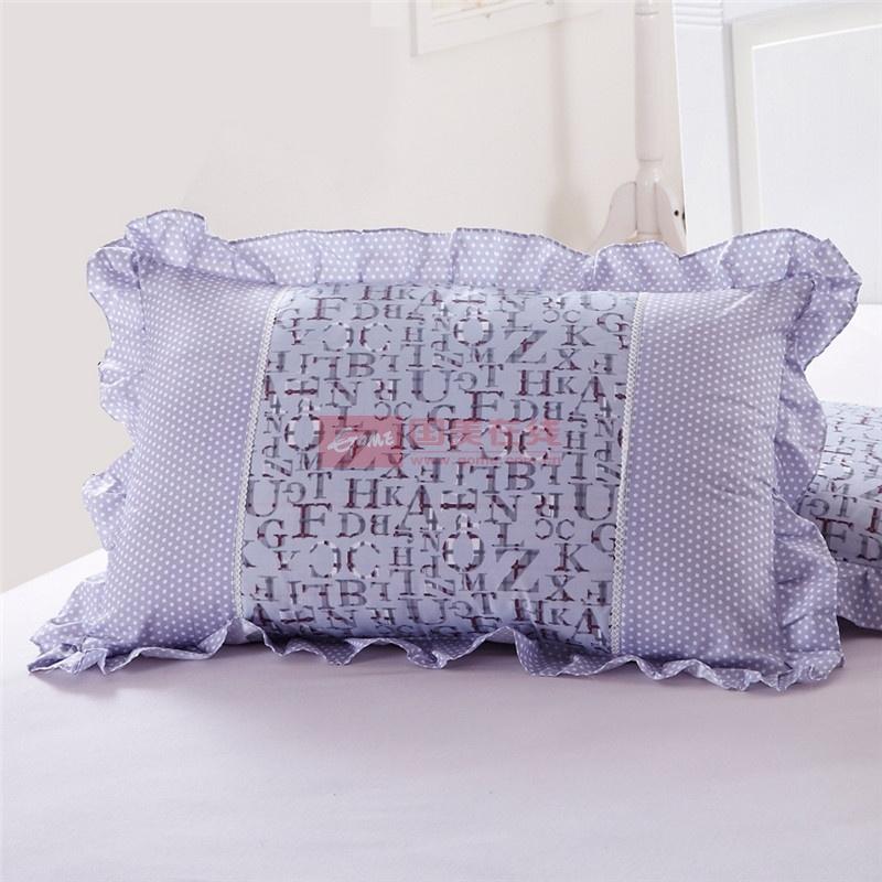 花语公主润肤棉枕套 韩式碎花斜纹枕头套枕罩花边 一对2只装(爱情条码