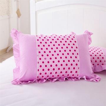 囍人坊花语公主润肤棉枕套韩式碎花斜纹枕头套枕罩花边一对2只装(时尚
