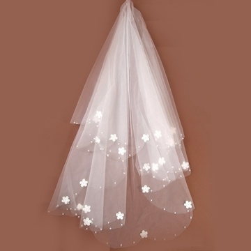 新款时尚新娘单层硬网小花头婚纱礼订珠头纱图片