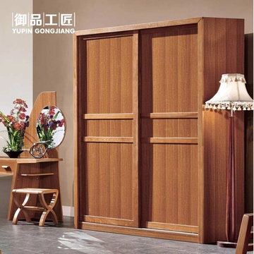 现代中式2趟门实木衣柜