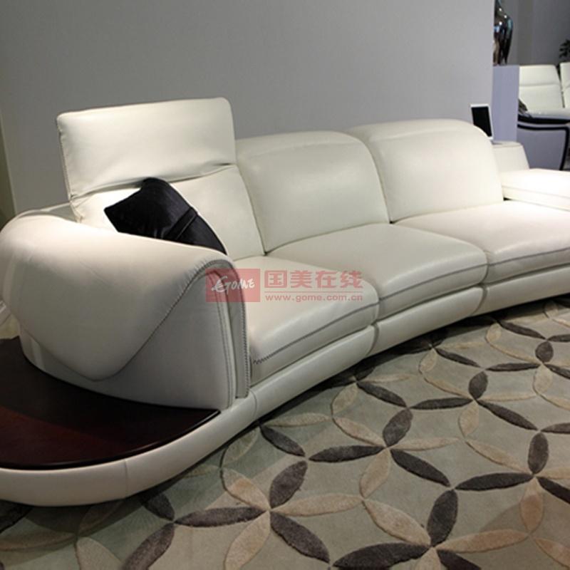 顾家邻居正品真皮沙发 弧形沙发半月形客厅组合真皮沙发 时尚音响沙发图片