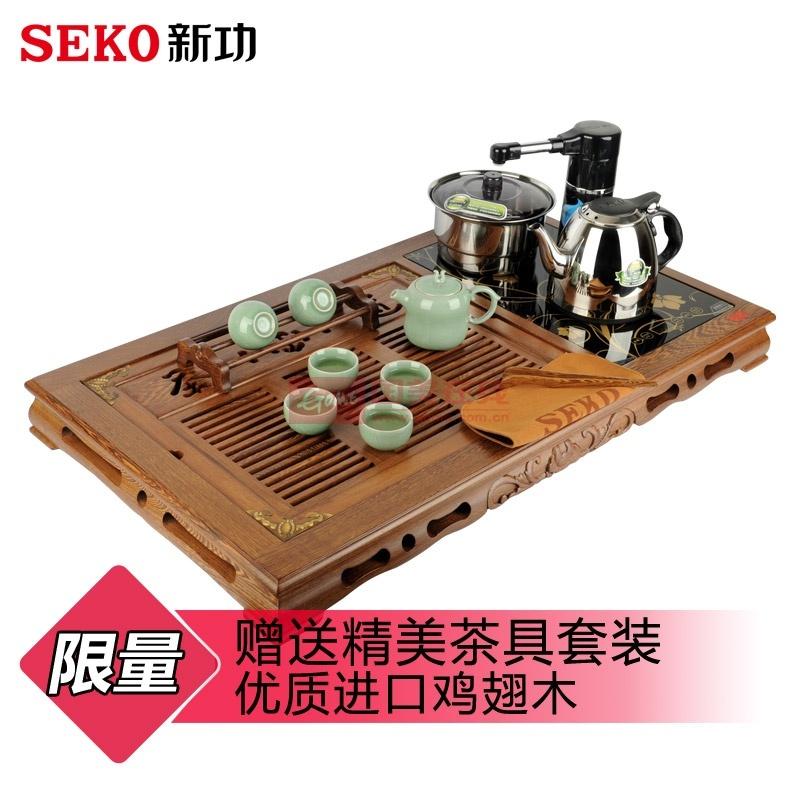 seko新功 f24 鸡翅木实木电热壶组合茶盘 抽水四合一功夫茶具套装