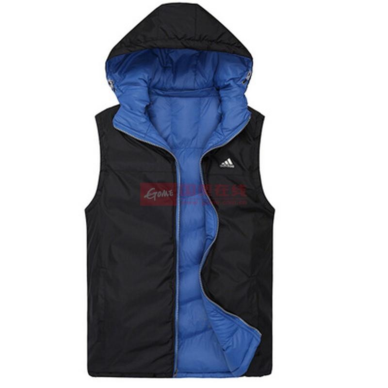 阿迪达斯运动夹克图片 adidas阿迪达斯冬季修身保暖连帽马甲三叶草男款