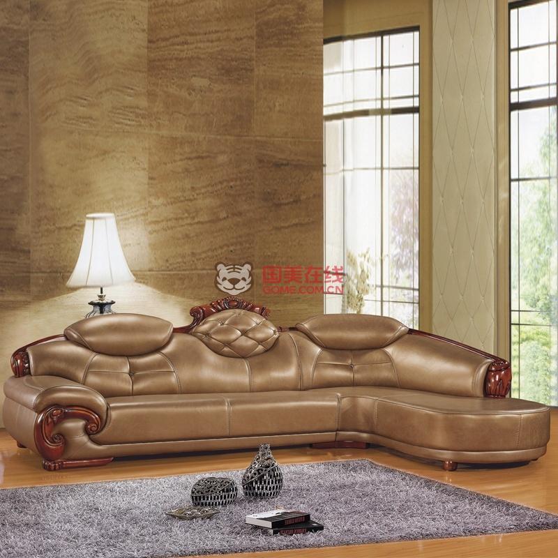 欧式实木雕刻中厚皮沙发客厅转角组合皮沙发