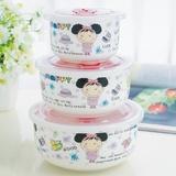 喜米陶瓷保鲜碗密封罐带密封盖三件套可进微波炉加热或冰箱冷藏食物包邮(女孩密封罐)