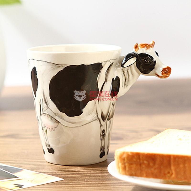 趣玩礼品 3d立体纯手绘动物杯(奶牛款)