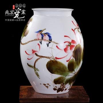兆宏 景德镇陶瓷器 王新华大师-秋荷 手绘花瓶摆件 高档礼品装饰